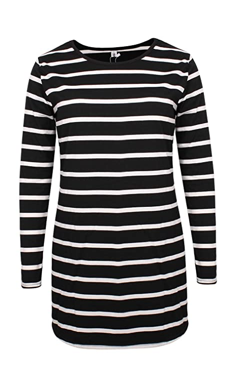 2727f1cf30d5a Myobe Women s Black and White Striped Tops Basic Long Sleeve Striped T Shirt  Tunic Tops at Amazon Women s Clothing store