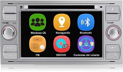 AWESAFE Radio Coche 7 Pulgadas para Ford con Pantalla Táctil 2 DIN, Autoradio de Ford con Bluetooth/GPS/FM/RDS/CD DVD/USB/SD, Apoyo Mandos Volante, Mirrorlink y Aparcamiento (Plata): Amazon.es: Electrónica