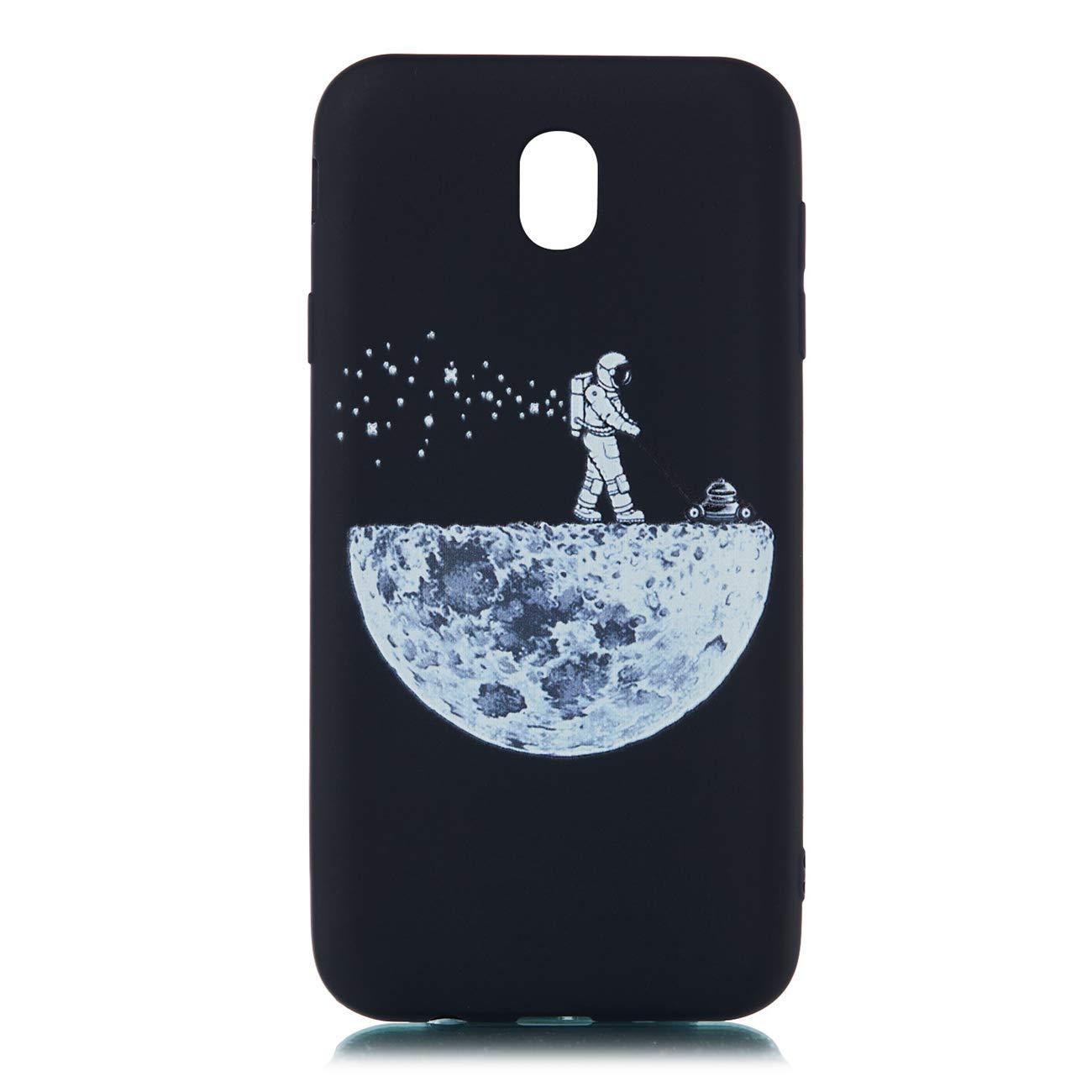 Chreey Coque pour Samsung Galaxy J5 2017 Noir Anti-Rayures 3D Motif T/él/éphone Case Coque Arri/ère en Silicone Souple TPU Housse de Protection J530 Astronaute /& Lune
