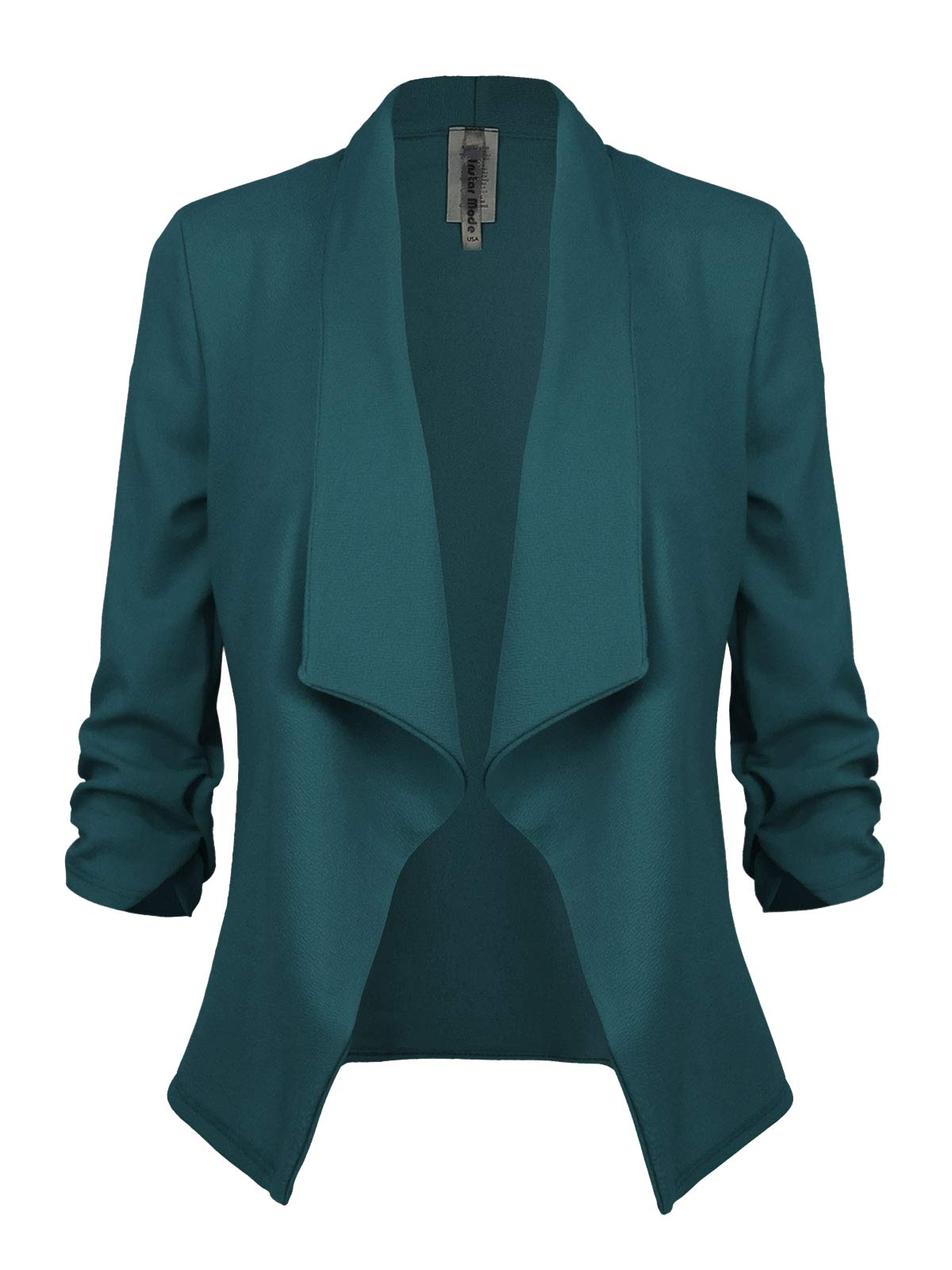 Instar Mode Women's Classic 3/4 Sleeve Open Front Blazer Jacket [S-3X] -Made in USA Hunter Green M