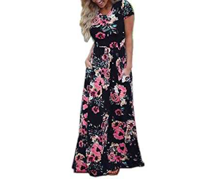 New Women Clothing Robe Dresses Short Sleeve Floral Print Long Dress Vestidos 0493 Black S