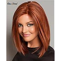 Dai Cloud Women's Fashion Long Brown Straight Bob Halloween Cosplay Party Kanekalon Synthetic Fiber Hair Full Wig Wigs