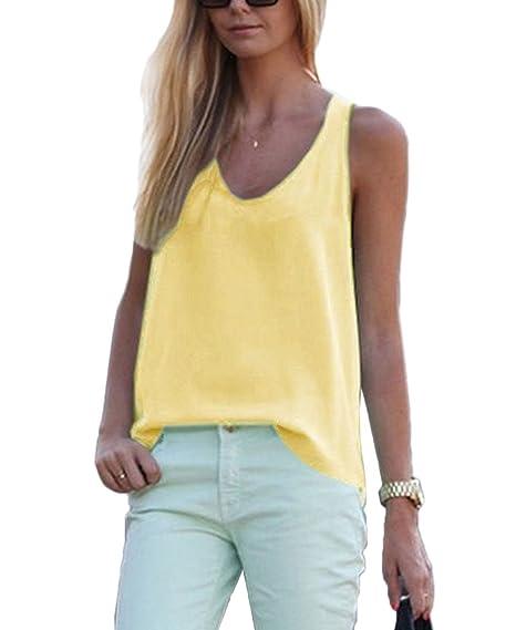 Verano Mujeres Sudaderas Casual Suelto Colores Lisos Blusa Vest Camisas Pullover Camisetas Sin Mangas Moda Cuello