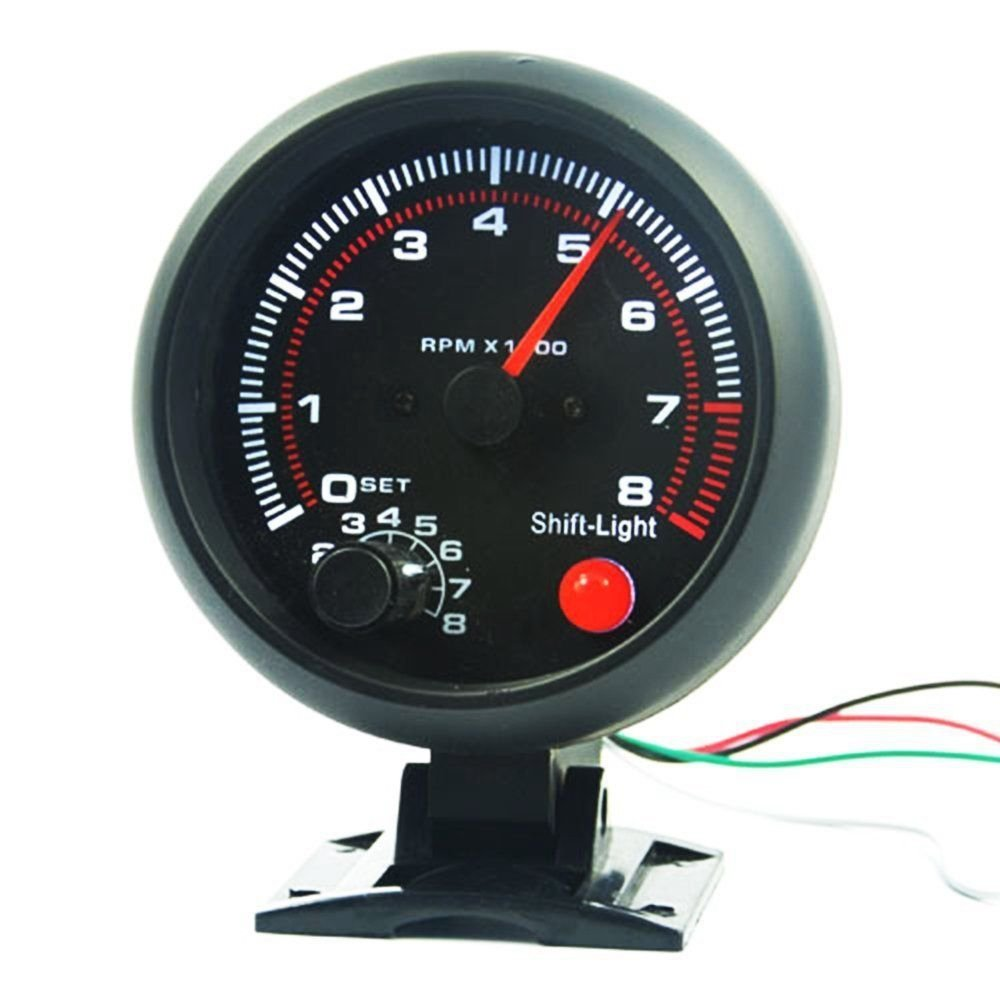 BAAQII 3.75' Universal Car Tachometer Tacho Messgerä t LED Shift Licht 0-8000 U/min TS Trade