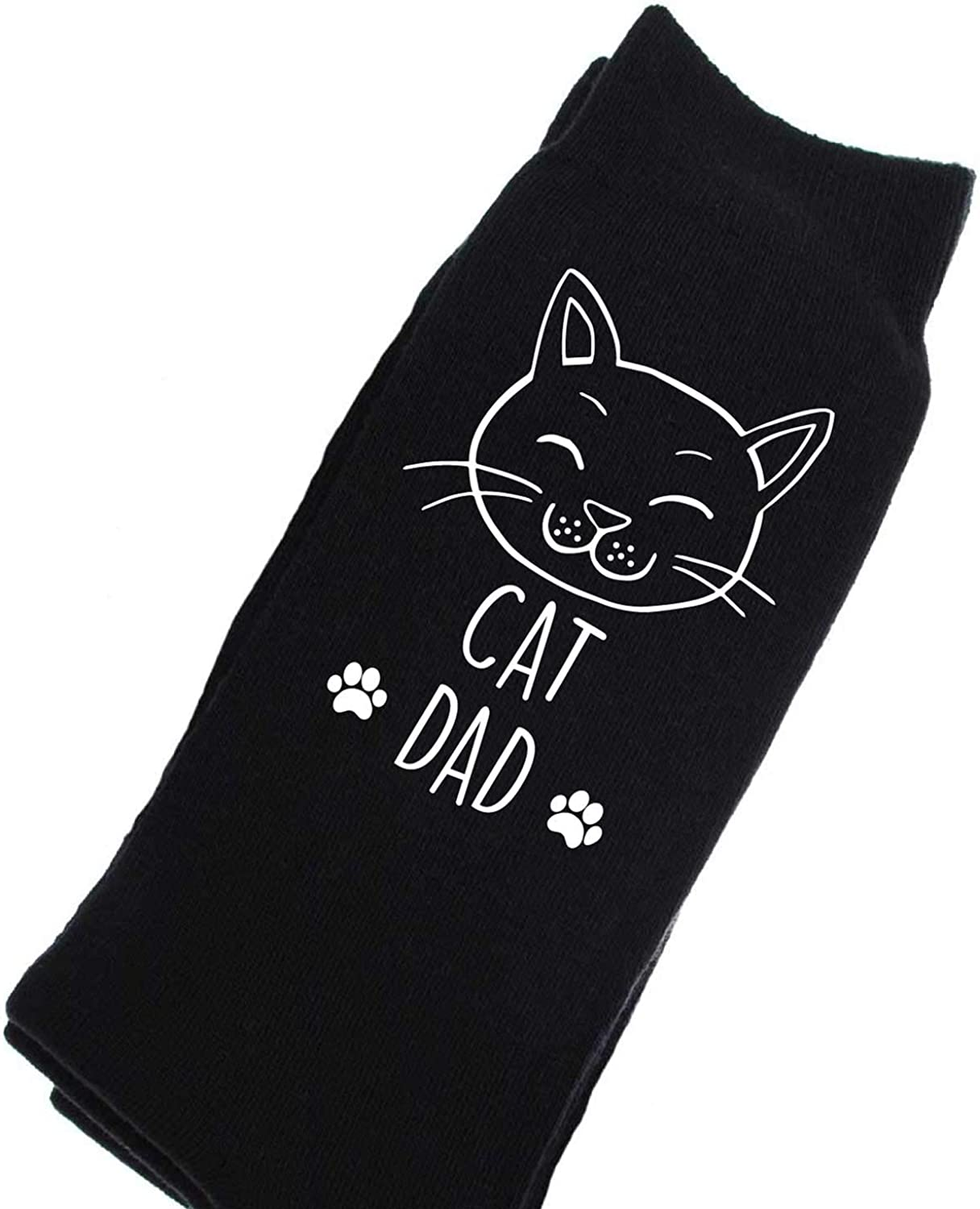 One Size 60 Second Makeover Limited Unisex 60 Second Makeover Mens Cat Dad Black Calf Socks Birthday Christmas Valentines Fathers Day Husband Boyfriend Schwarz