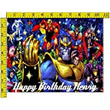 Infinity War Comic Personalized Birthday Edible Frosting Image 1/4 sheet Cake Topper
