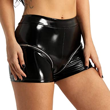 2f972e9828 Alvivi Women s Lingerie Wet Look Patent Leather High Waist Hot Pants Summer  Casual Daily Shorts Black