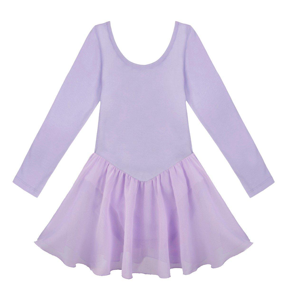 Freebily Little Big Girls Classic Long Sleeve Ballet Dress Gymnastics Leotard with Tutu Skirt