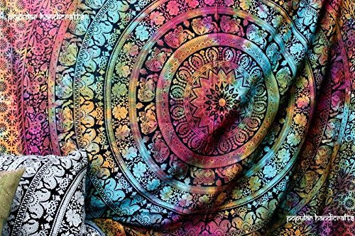 Popular Handicrafts New launched tapestry Popular Twin tye dye Hippie Elephant Mandala Tapestry Indian Traditional Beach Throw Wall Art College Dorm Bohemian Wall Hanging Boho Twin Bedspread By