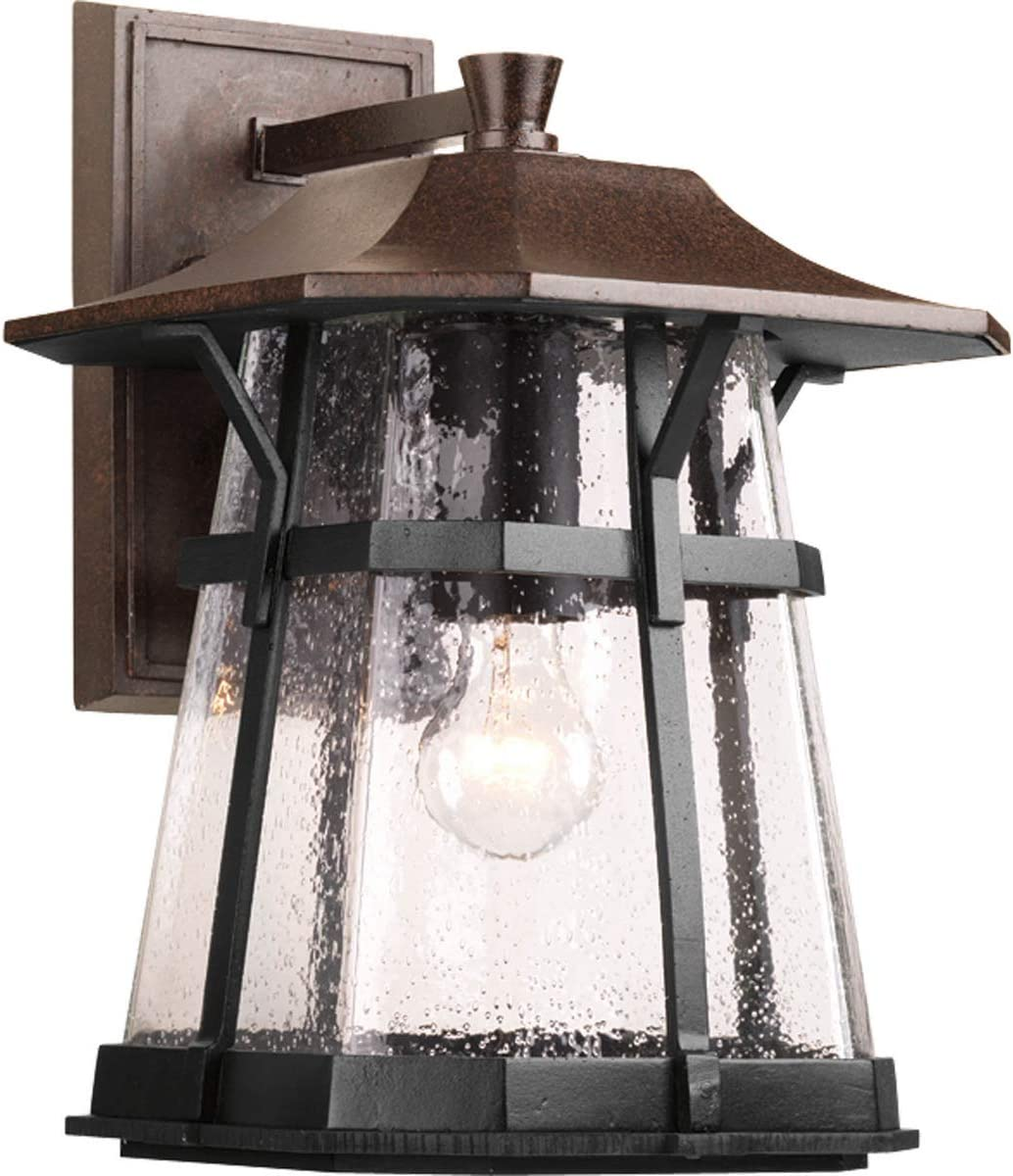 Progress Lighting P5751-84 Asian Inspired One Light Wall Lantern from Derby Collection in Bronze Dark Finish, Espresso