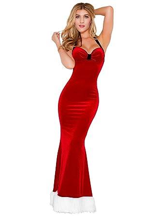 6d54a4a8d1e6 Amazon.com: JJ-GOGO Christmas Mermaid Dress - Adult Halter Backless Sexy  Long Red Christmas Santa Claus Maxi Dress Women: Clothing