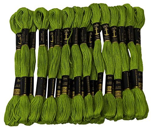 Anchor Threads Cross Stitch Hand Embroidery Stranded Cotton Floss Thread 25 Skeins-Green