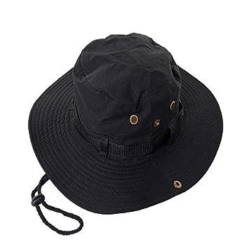 60f08c40a24 Millya Outdoor Sun Cap Reversible Camouflage Bucket Boonie Bush Hat Black