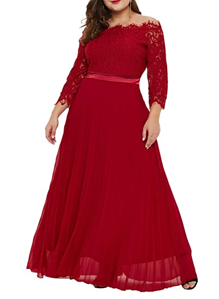 LALAGEN Women Plus Size Lace Off Shoulder Formal Gown ...