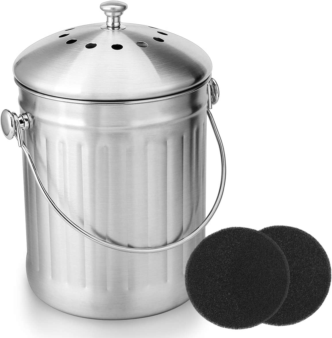ENLOY Compost Bin, Stainless Steel Indoor Compost Bucket for Kitchen  Countertop Odorless Compost Pail for Kitchen Food Waste with Carrying  Handle and ...
