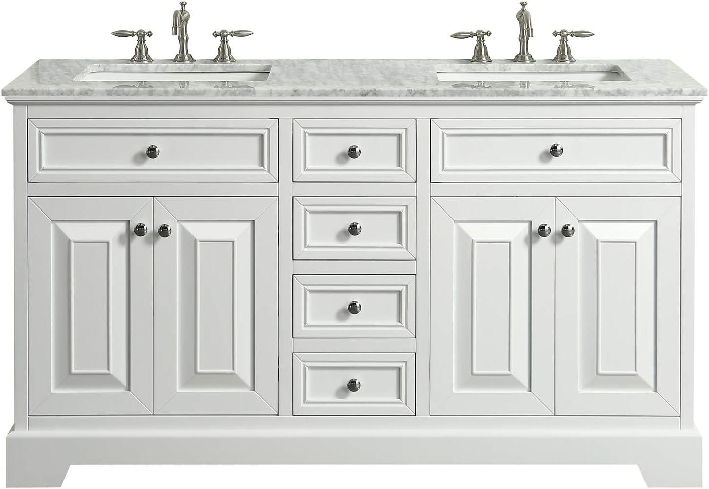 Amazon Com Eviva Monroe 72 Double Sink Wood Bathroom Vanity With Carrara Top In White Furniture Decor