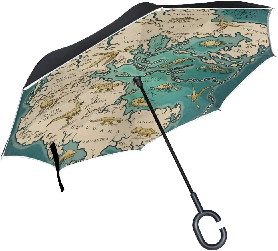 SLEPOPO Inverted Umbrella,Windproof UV Protection Big Straight Umbrella with C-Shaped Handle and Carrying Bag Map of The Supercontinent Pangaea Double Layer Reverse