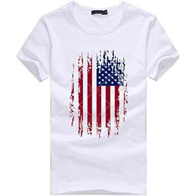 adfcc349aae Outtop Men s Fashion Cotton Plus Size American Flag Print T Shirts Tee Tops   Amazon.in  Clothing   Accessories
