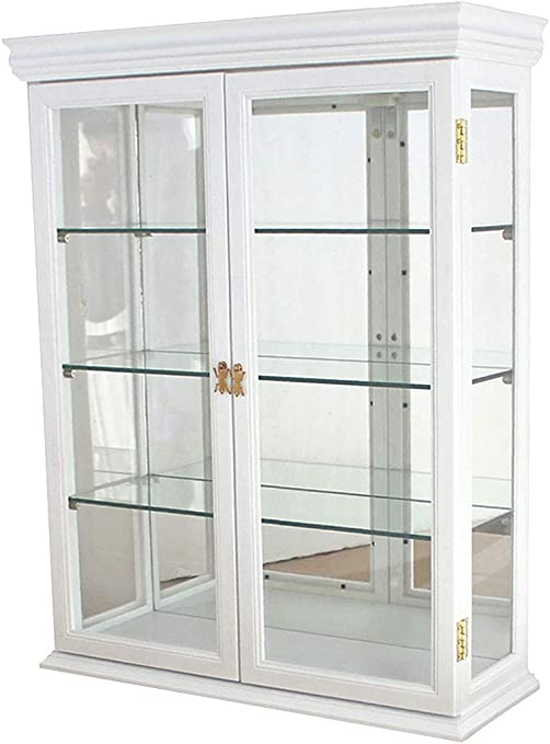 White Small Wall Mounted Curio Cabinet//Wall Display Case with Glass Door