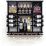 Adega Barzinho de Madeira Maciça para 13 garrafas com Porta Rolhas, Tampinhas e Taças - Nogueira