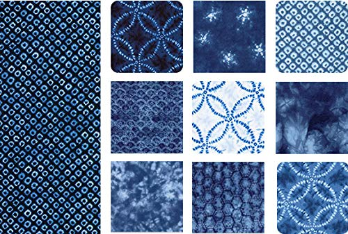 - Blue & White Japanese Faux Shibori Fabric Designs - 10 Fat Quarters (2 1/2 Yards Total)