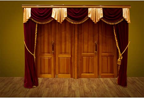 Leyiyi Stage Circus Act Magic Show Backdrop 10x15ft Photography Backdrop Red Curtain Vintage Grunge Shabby Chic Wooden Textured Floor Talk Show Stage Performance Backdrop Photo Booth Props