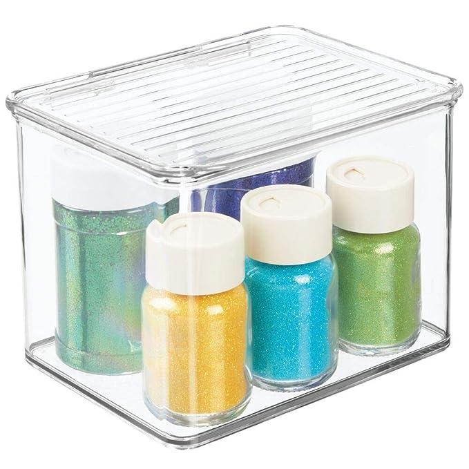 Amazon.com: MDesign - Cubo de plástico apilable para coser ...