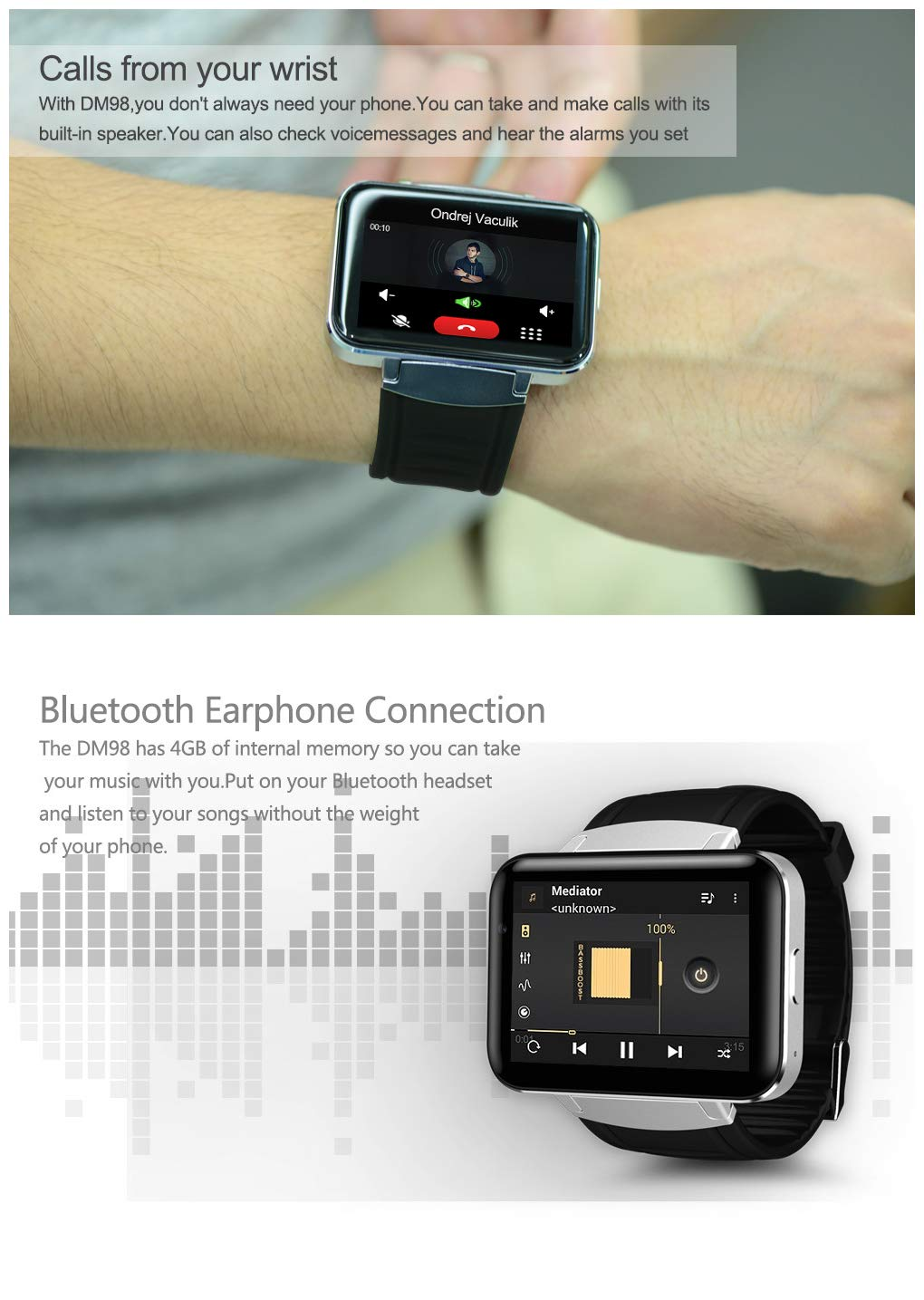 Amazon.com: DM98 Smart Watch 2.2 inch Android OS 3G ...