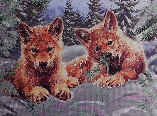 Bead Embroidery kit Wolf Cubs Beaded Cross Stitch Woodlands Animals Needlepoint Handcraft Tapestry -