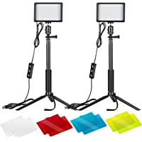 2-Pack Neewer Dimmable 5600K USB LED Video Light with Adjustable Tripod Stand