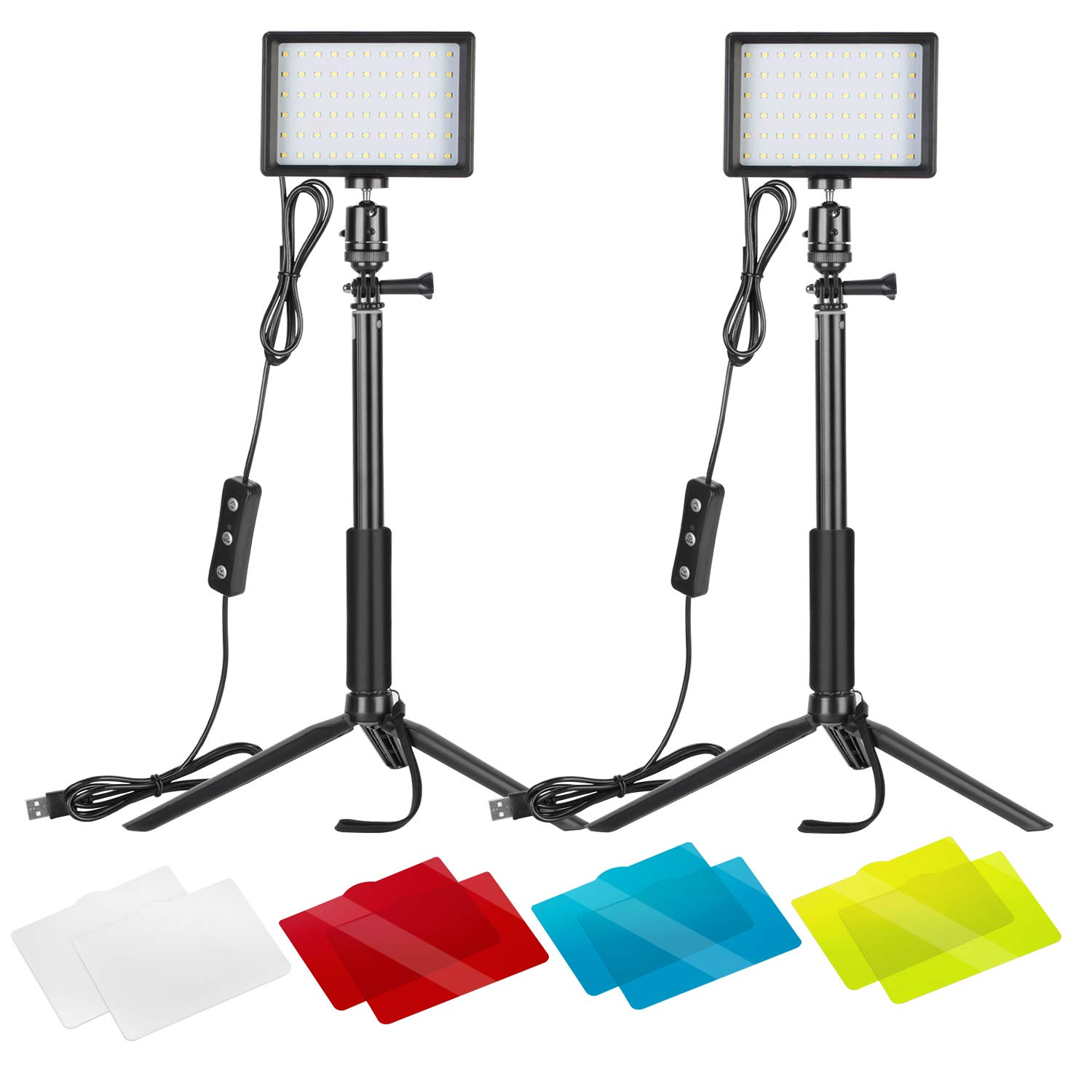 Neewer 2 Packs Dimmable 5600K USB LED Video Light with Adjustable Tripod Stand/Color Filters for Tabletop/Low Angle Shooting, Colorful LED Lighting, Product Portrait YouTube Video Photography by Neewer