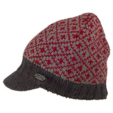 9d456b4207576a Kusan Hats Patterned Peaked Beanie Hat - Red 1-Size: Amazon.co.uk: Clothing