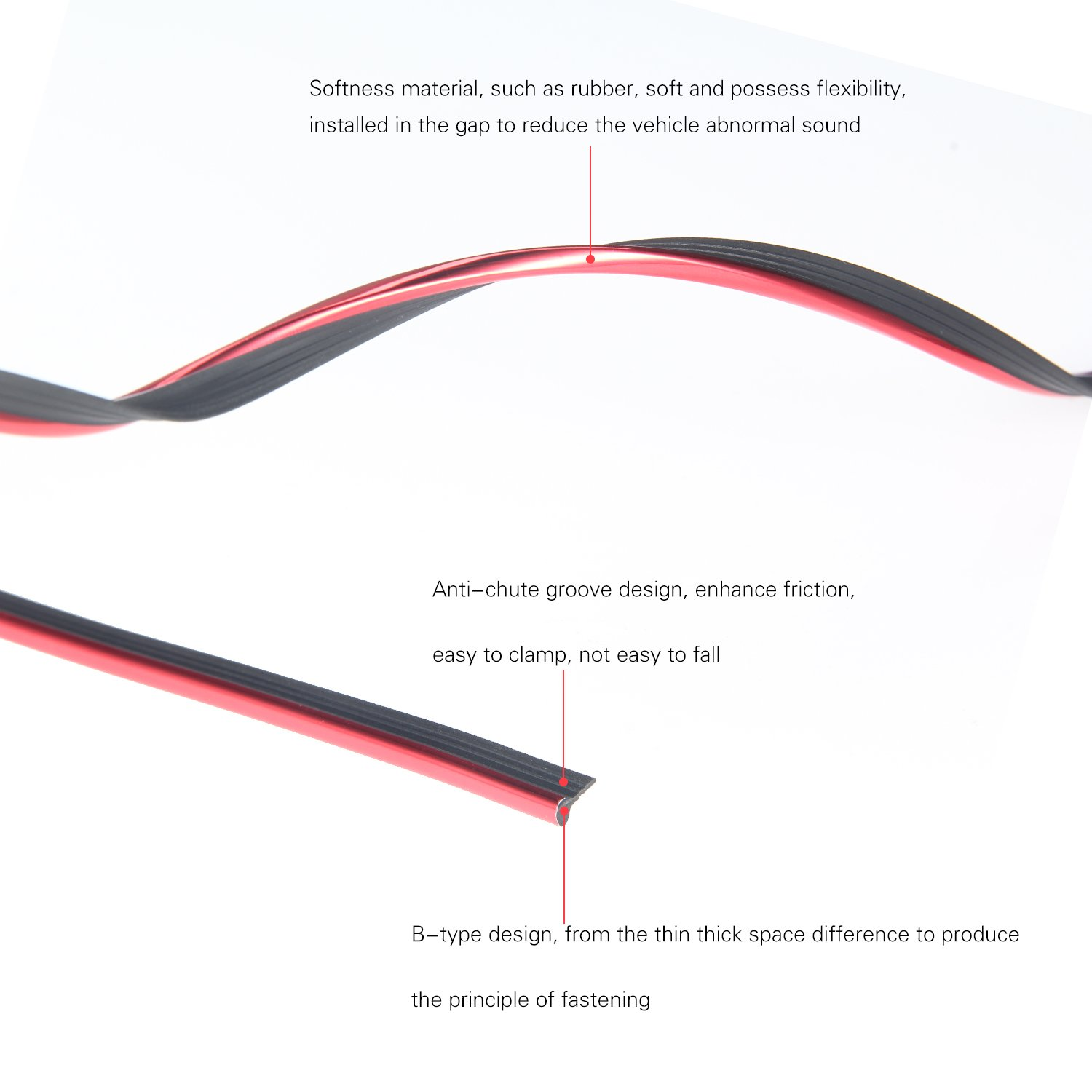Transparent Car Door Edge Guard Strip U Shape Vehicle Rubber Seal Protected Lining Trim Molding fits most cars 16ft easy DIY Installation Internal Double Sided Tape 5M