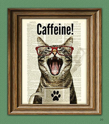 Caffeine Cat has a case of the Mondays Coffee Cup Cat altered art