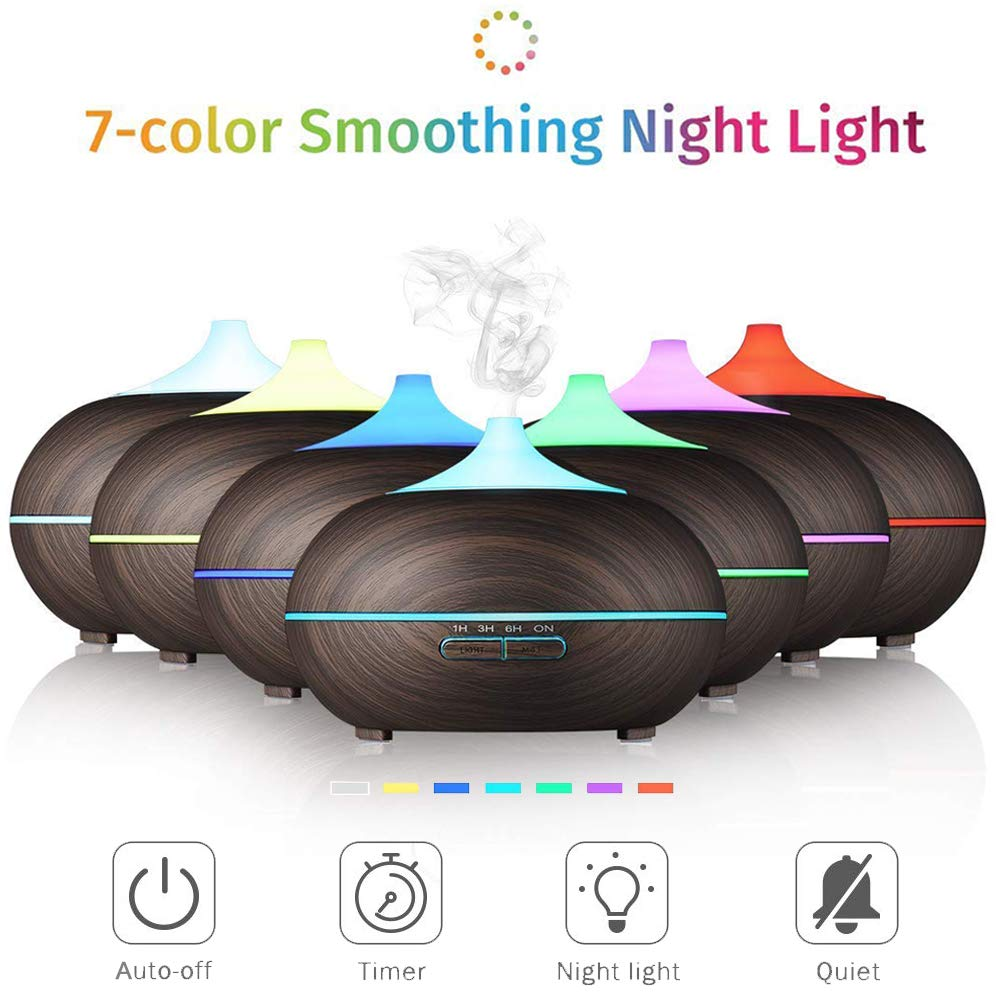 Aroma Essential Oil Diffuser, ZEPST 300ml Ultrasonic Cool Mist Air Humidifier Essential Oils Wood Grain Waterless Auto Shut-off with 7 Color LED Lights Changing for Office Baby Bedroom Yoga Spa(24B)