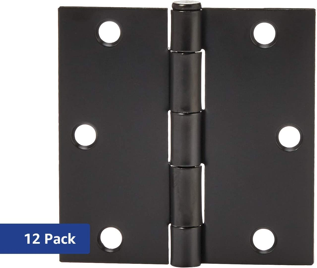 AmazonBasics Square Door Hinges, 3.5 Inch x 3.5 Inch, 12 Pack, Matte Black