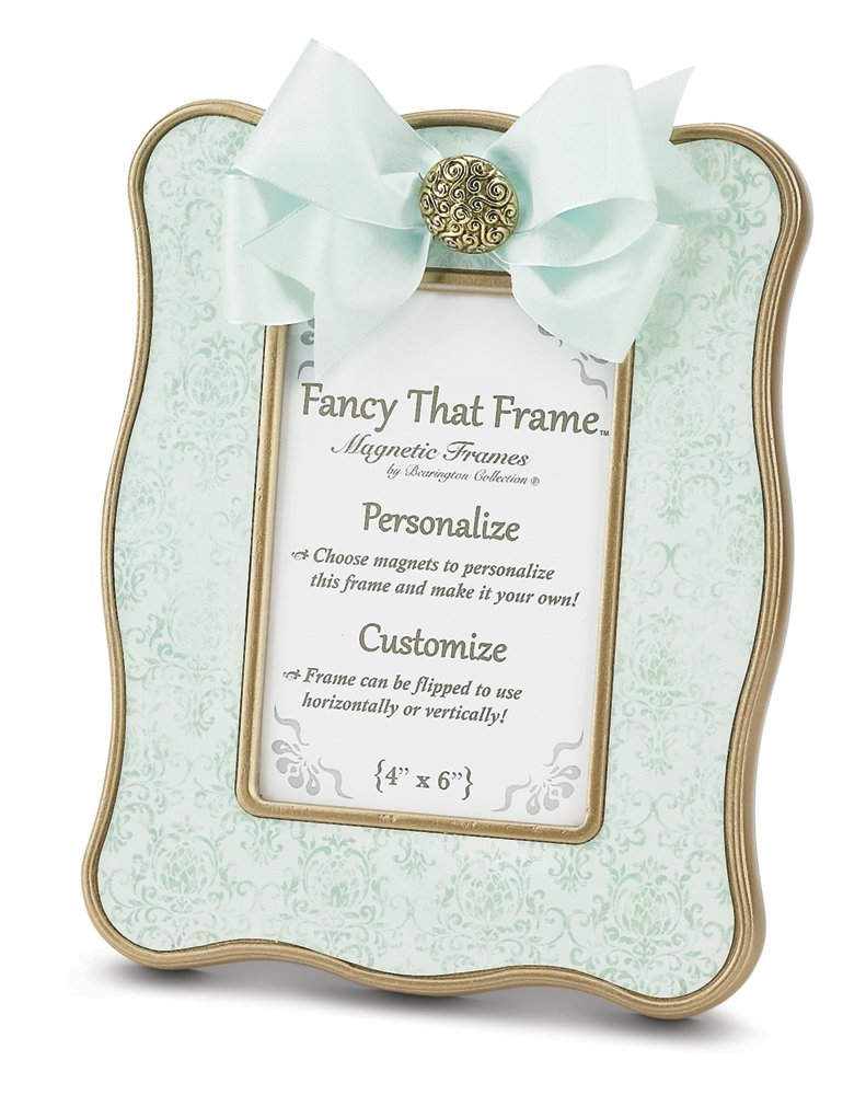 Bearington Fancy That Frame, Teal Vintage Damask Magnetic Photo Frame, 4