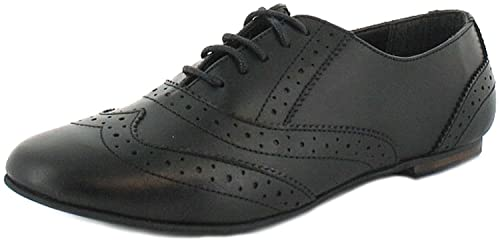 6c9aed6b83a Ladies Womens Black Leather Lace Up Shoe With Brogue Detail - Black - UK  SIZE