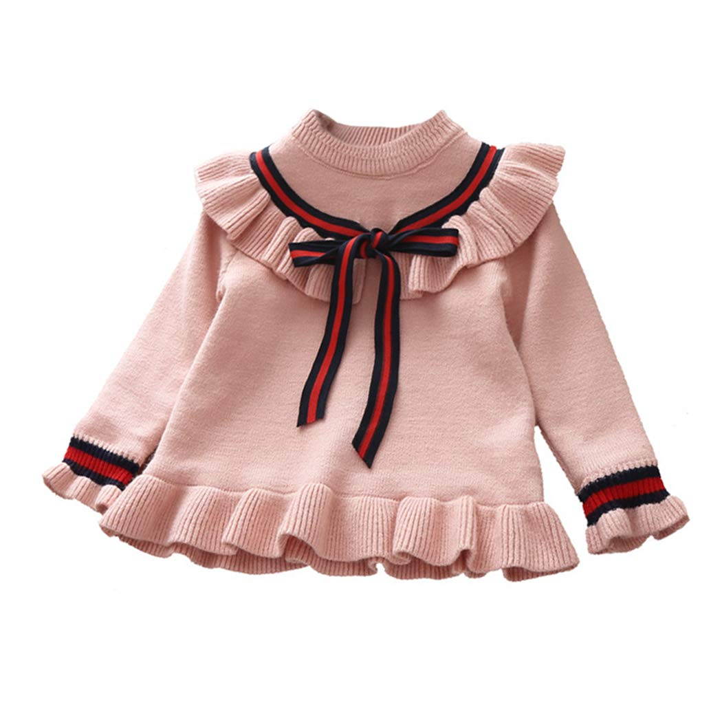 KUKEONON Toddler Baby Girls Long Sleeve Pullover Ruffle Sweater with Bow Tie