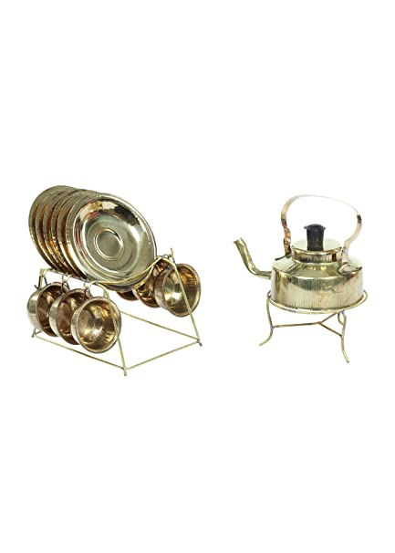 Amazon Com Desi Toys Vintage Antique Brass Kettle Set With Cup And