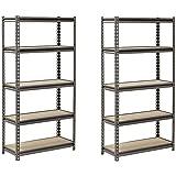 "Muscle Rack UR301260PB5P-SV Silver Vein Steel Storage Rack, 5 Adjustable Shelves, 4000 lb. Capacity, 60"" Height x 30"" Width x 12"" Depth (Pack of 2)"
