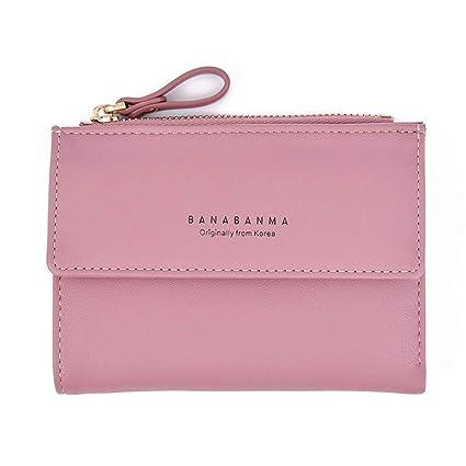 fbbca33779f50 AUMING Geldbörse Damen Portemonnaie Lang Portmonee Leder Casual  Reißverschluss Kurze Clutch Geldbörse für Frauen Geschenk für