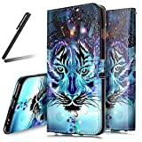 iPhone 7 Stand Case,iPhone 7 Wallet Case,iPhone 7 Cover,Flip Case for iPhone 7,SKYMARS iPhone 7 Cover Gloss Skin 3D Creative Design Book Style PU Leather Flip Kickstand Cards Slot Wallet Magnet Protective Stand Case for iPhone 7 4.7 inch Blue Wolf