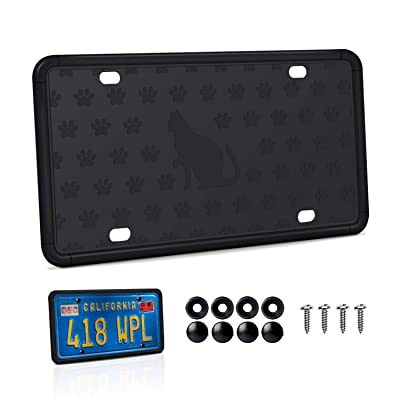 Mookis License Plate Frame, 2 PCS Black Auto License Plate Holder, Silicone License Plate Frame with Installation Screws and 9 Drainage Holes, Water-Proof, Rust-Proof, Weather & Rattle-Proof (Type 3): Automotive