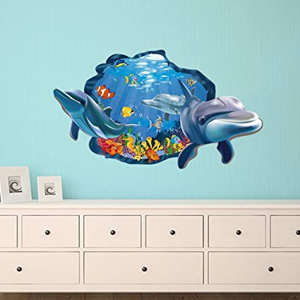Dolphin Fish Sea Life Marine Animal Wall Sticker Bathroom Cartoon Mural Decals