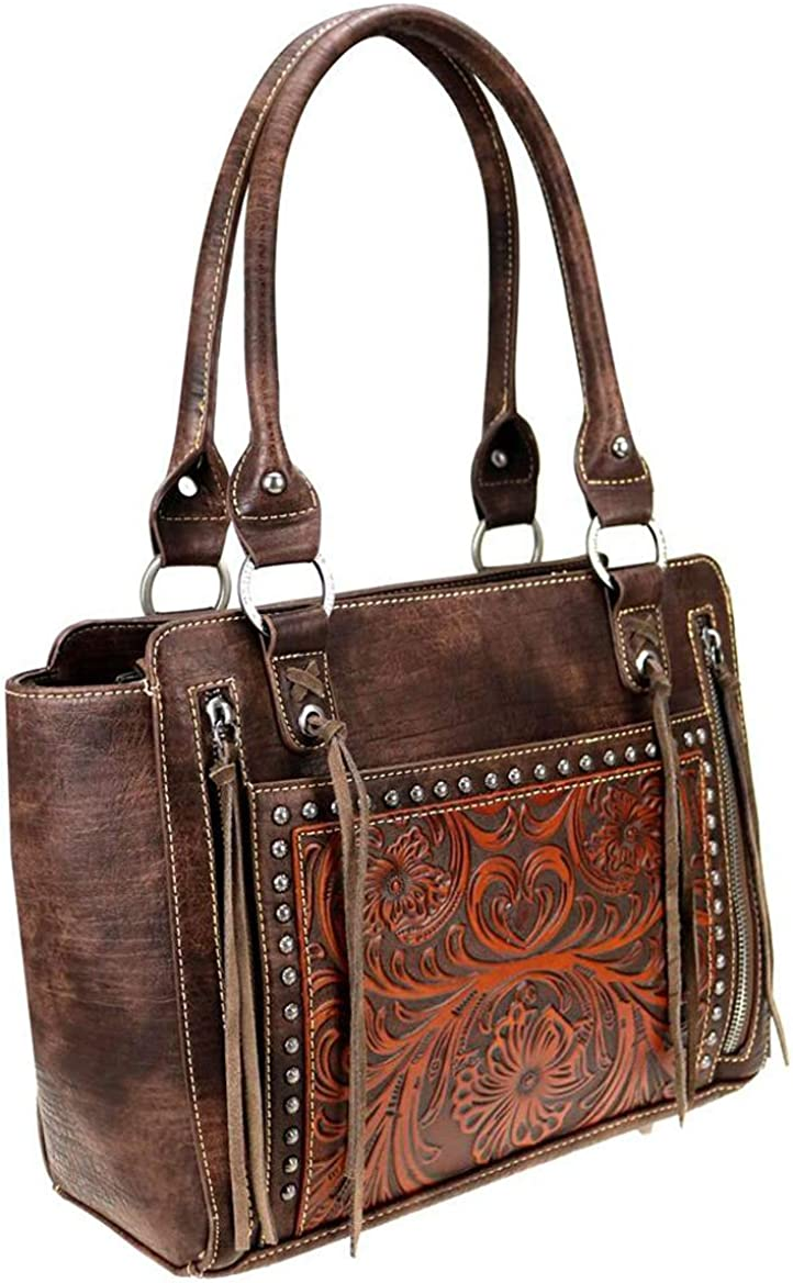 Brown Trinity Ranch Floral Tooled /& Leather Fringe Tote Wallet