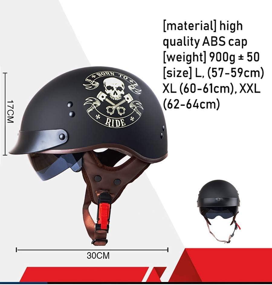 YAJAN-helmet Casque de Moto Jet Retro,Dot la Certification de s/écurit/é Vintage Cruiser Casque Lunettes de Protection UV Cuir r/étro 3//4 Casque pour Adulte Hommes Femmes Moto Locomotive 57-64cm