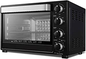 QPLKKMOI Countertop Rotisserie Convection Toaster Oven, Stainless Steel 32L Large Capacity Baking High Can, Black