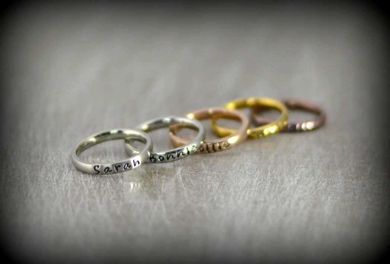 Amazon Com Personalized Stackable Name Ring Stacking Rings