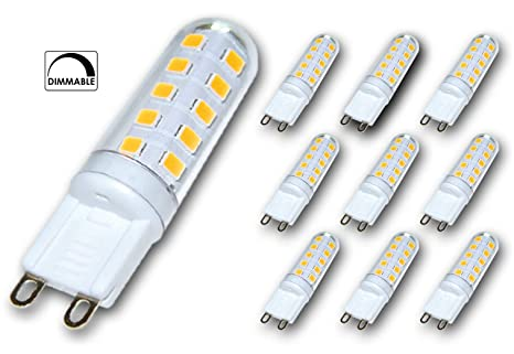 10x Lámpara LED greenandco® regulable G9 3,5W (corresponde a 25-35W